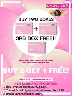Wowo bird nest collagen jelly ( promotion ) 2+1 free @ $110