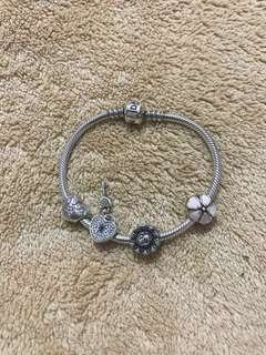 Original Pandora Bracelet with 4 Charms