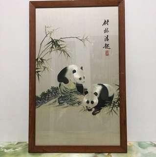 Vintage Shu Embroidery Panda Framed