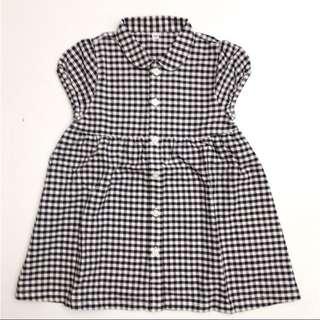 無印良品Muji 童裝女童幼兒柔軟有機棉牛津布深藍格紋洋裝短裙 連身裙