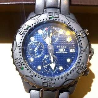 Fossil Titanium 鈦金屬 Fossil Blue Chronograph Divers Watch