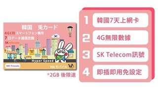 SK telecom 7日 4G LTE 韓國無限上網卡 閃兔 售$70