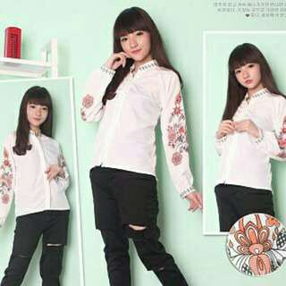 lm kem flora gil 65.000  Bahan twiscone, fit to L, sablon good quality, (Real Pict)