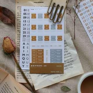 Only 2 Instocks! Basic Diary Sticker Set (Gold)