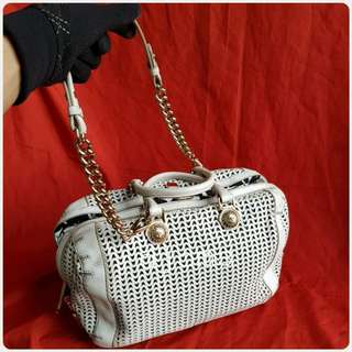 VERSACE MEDUSA WHITE ROLLED CHAIN 2WAY BAG