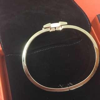 二手 Hermes愛馬仕 Clic H LOGO琺瑯細版手環 玫瑰金配粉色 會附上購買證明