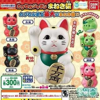 單售 扭蛋 和風招財貓 巨大 環保 轉蛋 BANDAI 萬代 大頭 招財貓 轉蛋 公仔 日本