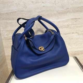 Lindy26款貴氣藍真皮手袋