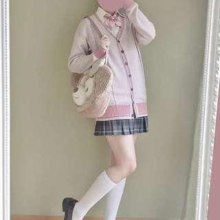 🚚 獨家設計款 霧粉色 芋粉色 開衫 外套 毛衣 針織 JK制服