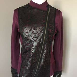 Naeem Khan Timeless purple and black detail assymetrical jacket