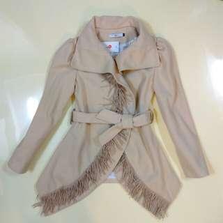 全新NEW LOOK厚質棉毛流蘇綁帶外套