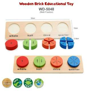 FREE POS Ready Stock Early Learning Wooden Brick Educational Toys Kids Math Fraction