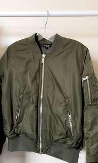 TOPSHOP Olive Green Bomber Jacket Petite Size 8