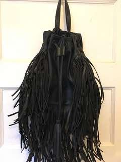 Black fringe backpack