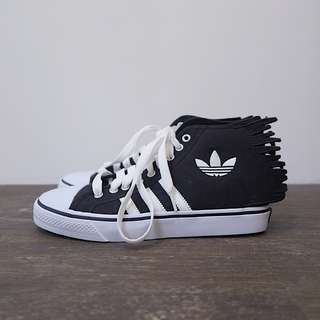 Adidas x Jeremy Scott JS Nizza Jagged 黑色 火焰 球鞋