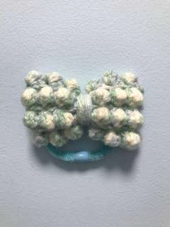 Handmade Multi Color of Tiffany Green, Light Blue and White Knotty Bow Hair Tie