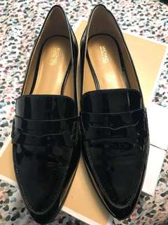 Michael Kors Black Leather Patent Loafers