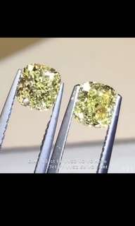 high Quality 1.31ct/1.27ct(GIA)Fancy Yellow VVS,Earring yellowish Diamonds