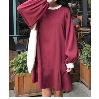(全新轉賣)女裝寬鬆圓領荷葉邊魚尾連衣裙酒紅色春裝上衣洋裝