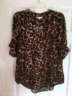 Leopard print sheer top