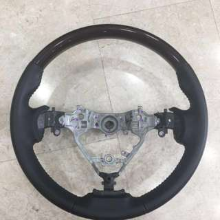 Toyota Harrier dark brown wood & leather steering wheel