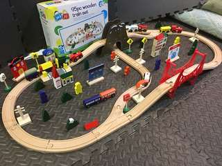 WOODEN TRAIN CITY SET imported