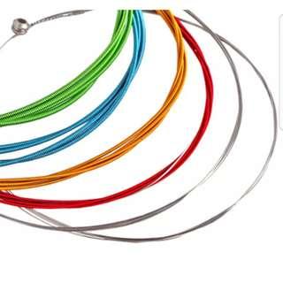 6pcs Rainbow Colorful Color Acoustic Guitar Strings 1m