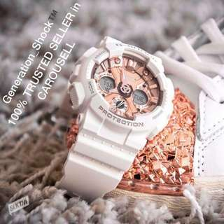 NEW🌟ARRiVAL CASIO GSHOCK 200m DiVER WATCH : 1-YEAR OFFICIAL WARRANTY: 100% ORIGINAL AUTHENTIC G-SHOCK RESISTANT S-Series Blossom Pink Rose-Gold Best Gift For Most Rough Users & Unisex GMA-S120MF-4ADR / BABYG / BABY-G / GMAS / GMA-S120 / GMA-120