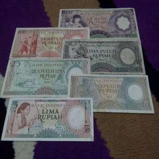 6 lembar Set mini rupiah pekerja 1958