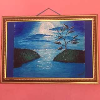 crayon painting lukisan