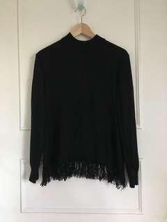 Lonely label black tassel jumper