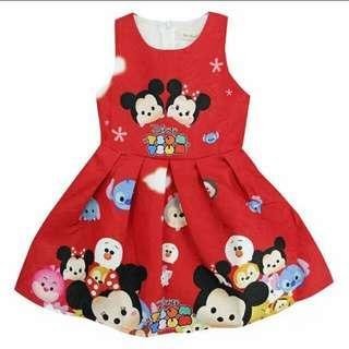 Tsum Tsum Dress Red Kids Girls Birthday Party