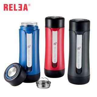 RELEA Heat Resistant Borosilicate Glass Bottle with Uneasy Breakable PP Protective Cover