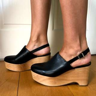 & Other Stories Black Wooden Wedges - Size 38