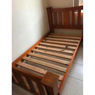 King single bed frame with mattress and bedside table