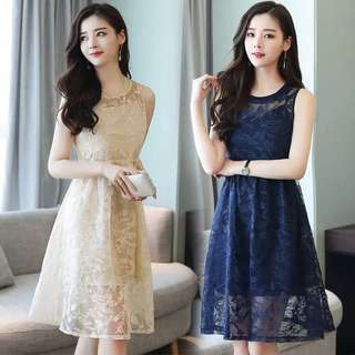 Korean summer version of the sleeveless mesh long paragraph A word Lace skirt two-piece dress