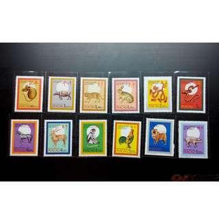 澳門郵票 1984-1995年 第一輪生肖 新票12全