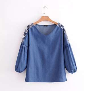 Europe and the United States temperament stitching V-neck loose casual denim shirt