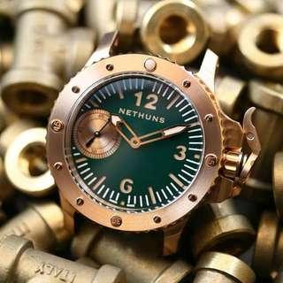 NETHUNS青銅表 瑞士製造 瑞士機芯 ETA 6497 手上鍊機芯 ~錶面45mm 兩年原廠保用