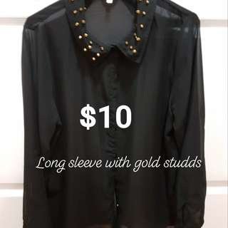 SEE-THROUGH long sleeve with gold studs