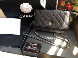 Chanel classic WOC in black with sliver chain