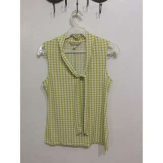 Yellow Checkered Sleeveless Top