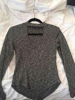 Grey marled bodysuit with keyhole