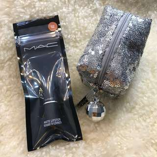 MAC Velvet Teddy Travel Size Lipstick with silver sequined statement bag