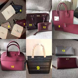 kate spade and Anne Klein bags and wallets