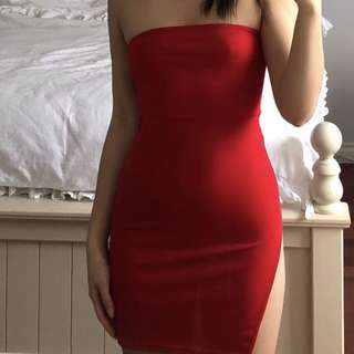 red dress with side slit
