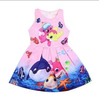 Baby Shark Girls Party Dress Pink