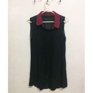 Black Sleeveless Polo