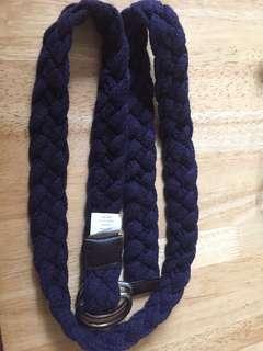 Belt - cotton braided navy blue S/M