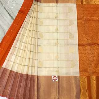 Kanchipuram handloom korvai silk cotton Saree.